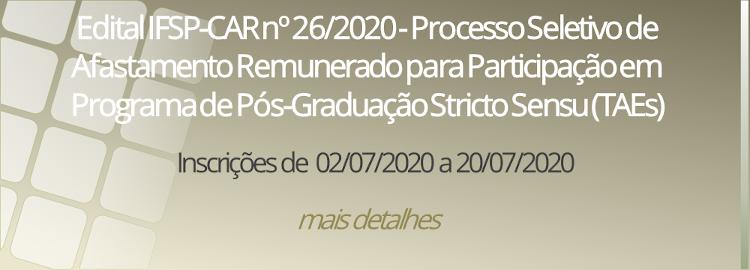 Edital IFSP-CAR nº 26/2020