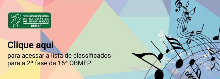 Lista de Aprovados Segunda Fase OBMEP Campus Caraguatatuba